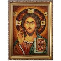 Иисус Христос икона с янтаря