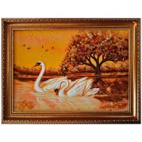 Картина - лебеди из янтаря