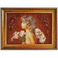 Картина Ангела с цветами из янтаря