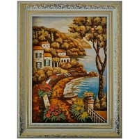 Картина - город у моря из янтаря